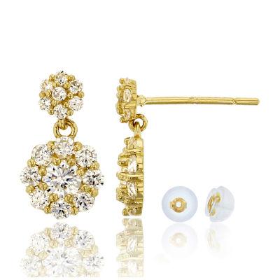 1 CT. T.W. White Cubic Zirconia 14K Gold Round Drop Earrings
