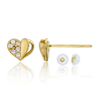 1 CT. T.W. White Cubic Zirconia 14K Gold 6mm Heart Stud Earrings