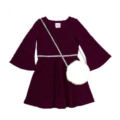Nanette Baby 3/4 Sleeve Empire Waist Dress - Toddler Girls