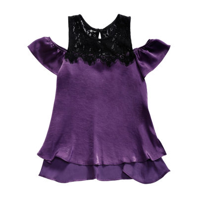Obsess Lace Trim U Neck Short Sleeve Flutter Sleeve Blouse - Big Kid Girls
