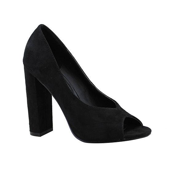 Michael Antonio Womens Haver Pumps Peep Toe Block Heel
