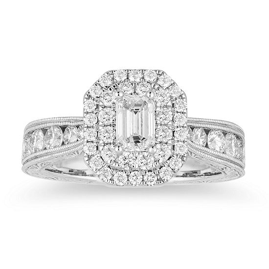 LIMITED QUANTITIES! Womens 1 1/2 CT. T.W. Genuine White Diamond 14K White Gold Engagement Ring