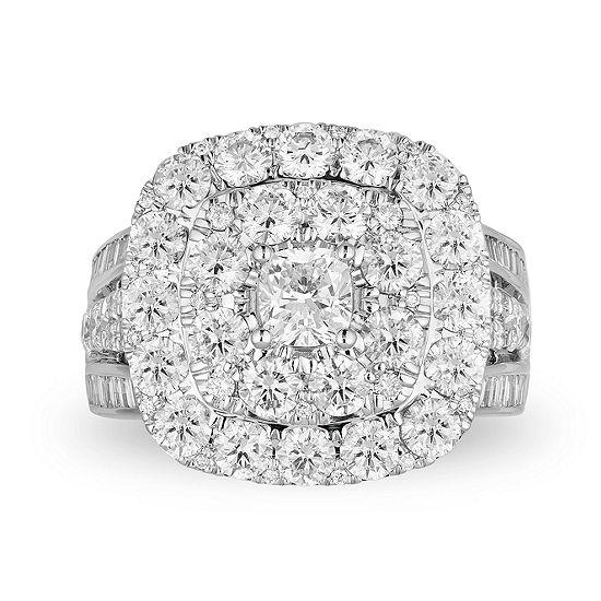 Womens 4 CT. T.W. Genuine White Diamond 10K White Gold Engagement Ring