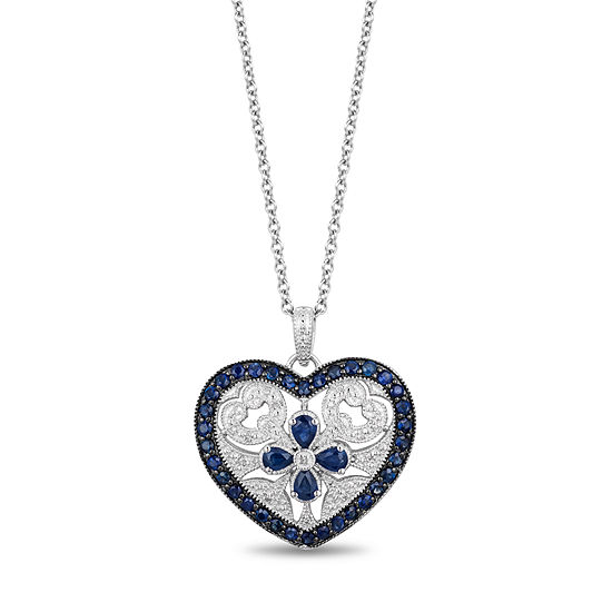 LIMITED QUANTITIES! Womens Diamond Accent Genuine Blue Sapphire Sterling Silver Heart Pendant