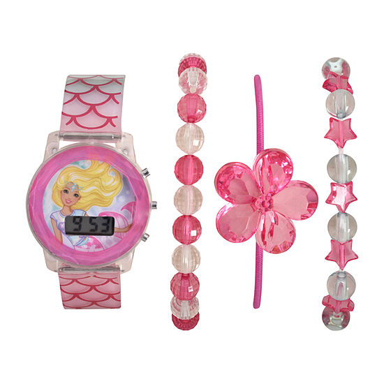 Barbie Barbie Girls Digital Pink 4-pc. Watch Boxed Set-Bdt40009jc