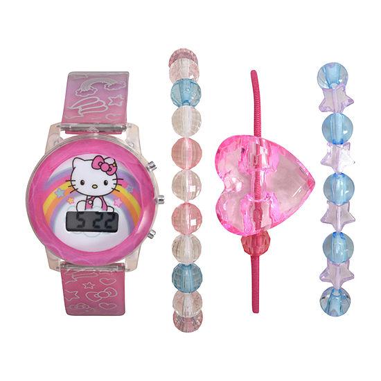 Hello Kitty Hello Kitty Girls Digital Pink 4-pc. Watch Boxed Set-Hk40011jc