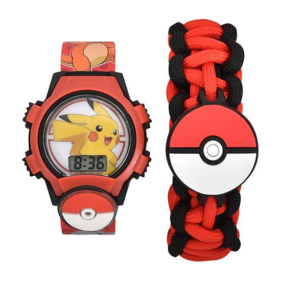 Boys Digital Red Watch Boxed Set-Pok40015jc