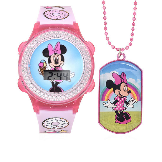 Disney Collection Minnie Mouse Girls Digital Pink Watch Boxed Set-Mn40032jc