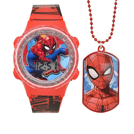 Marvel Spiderman Boys Digital Red 2-pc. Watch Boxed Set-Spd40020jc