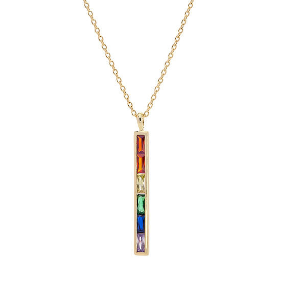 Sparkle Allure Multi Color Stone 16 Inch Cable Pendant Necklace