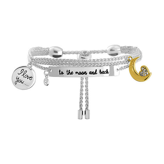 Sparkle Allure Love You To the Moon and Back Cubic Zirconia 8 Inch Link Chain Bracelet
