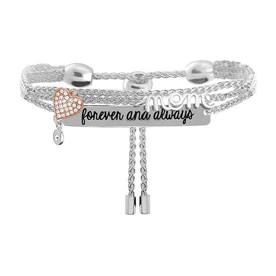 Sparkle Allure Mom Cubic Zirconia 8 Inch Link Chain Bracelet