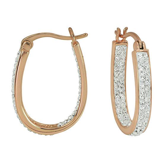 Sparkle Allure Crystal 14k Rose Gold Over Brass Hoop Earrings