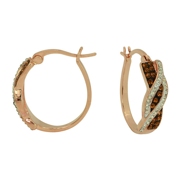 Sparkle Allure Multi Color Crystal 14k Rose Gold Over Brass Hoop Earrings