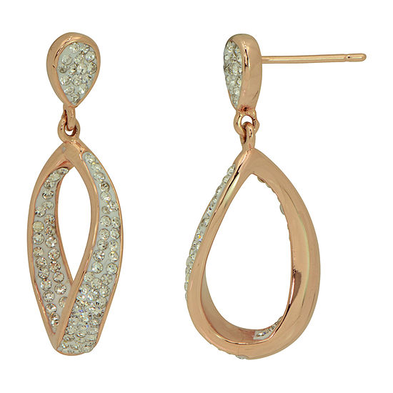 Sparkle Allure Crystal 14k Rose Gold Over Brass Drop Earrings