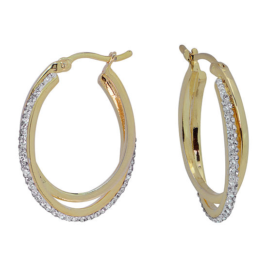 Sparkle Allure Crystal 14K Gold Over Brass Hoop Earrings