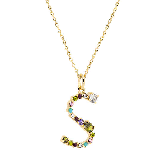 Sparkle Allure S Multi Color Stone 16 Inch Cable Pendant Necklace