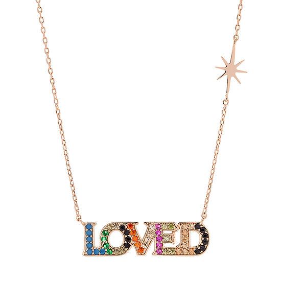 Sparkle Allure Love Multi Color Stone 16 Inch Cable Pendant Necklace