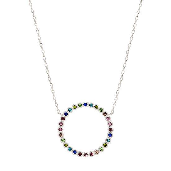 Sparkle Allure Multi Color Stone 18 Inch Cable Pendant Necklace