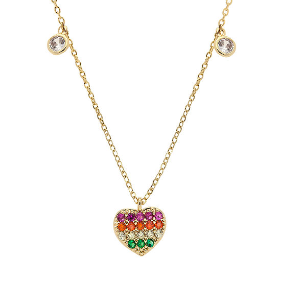 Sparkle Allure Stone 16 Inch Cable Heart Pendant Necklace