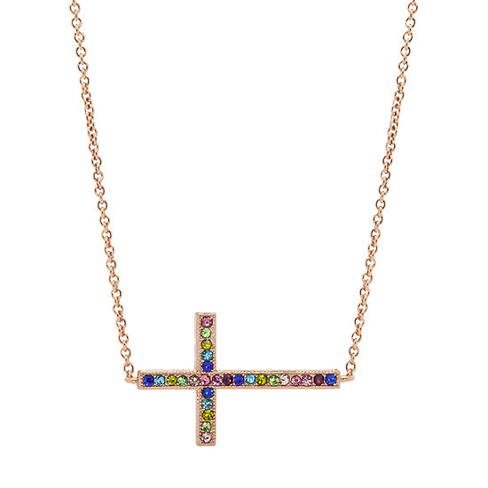 Sparkle Allure Multi Color Stone 16 Inch Cable Cross Pendant Necklace