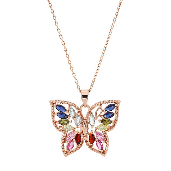 Sparkle Allure Multi Color Stone 16 Inch Cable Butterfly Pendant Necklace