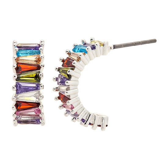 Sparkle Allure Multi Color Curved Hoop Earrings