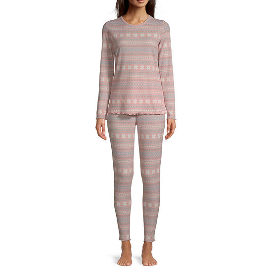 Ambrielle Womens Pant Pajama Set 3-pc. Long Sleeve