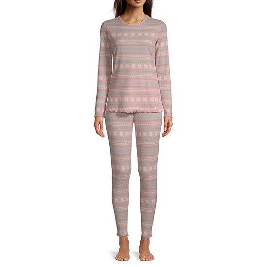 Ambrielle Womens-Plus 3-pc. Long Sleeve Pant Pajama Set