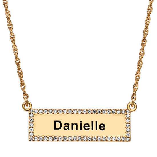 Womens Simulated Cubic Zirconia 14K Gold Over Silver Pendant Necklace