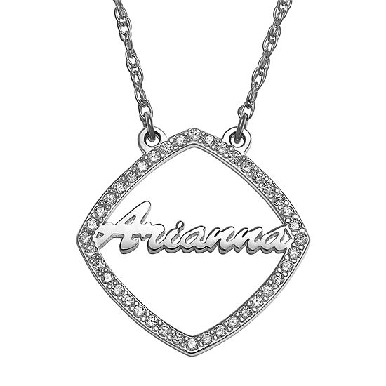 Womens Simulated Cubic Zirconia Sterling Silver Pendant Necklace