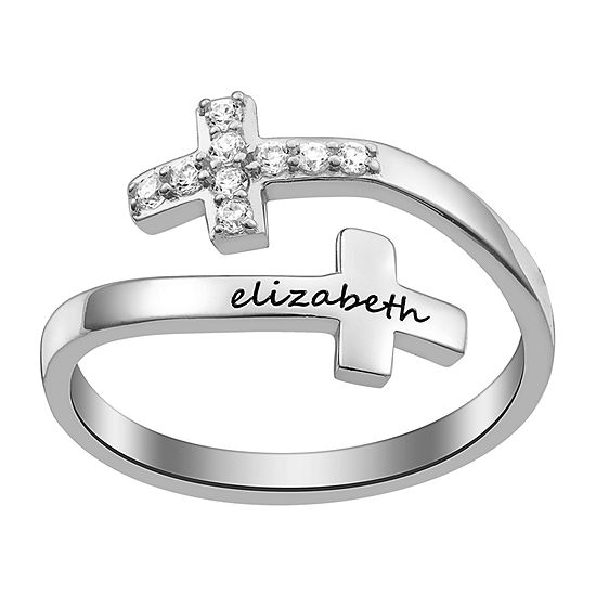 Womens Simulated Crystal Sterling Silver Cocktail Ring