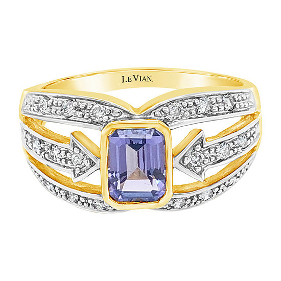 Le Vian Grand Sample Sale™ Ring featuring Blueberry Tanzanite® Vanilla Diamonds® set in 10K Honey Gold™