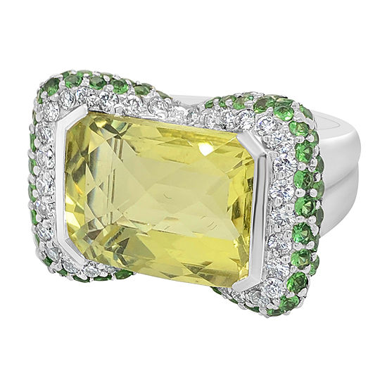 Le Vian Grand Sample Sale™ Ring featuring Lemon Quartz Green Garnet Vanilla Diamonds® set in 18K Vanilla Gold®