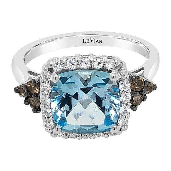Le Vian Grand Sample Sale™ Ring featuring Blue Topaz Chocolate Quartz® White Sapphire set in 14K Vanilla Gold®