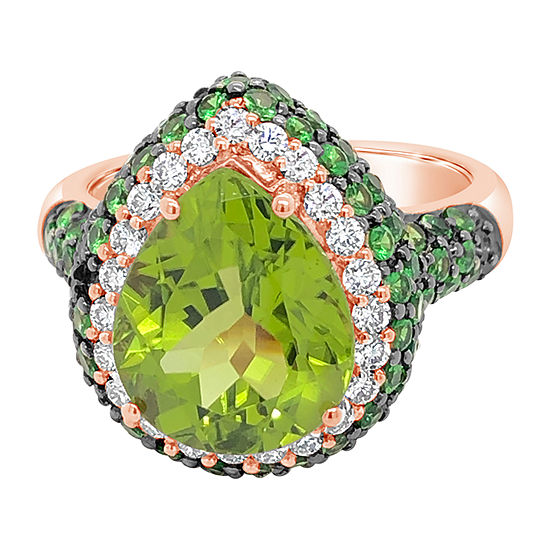 Levian Corp Womens 1/3 CT. T.W. Genuine Green Peridot 14K Rose Gold Cocktail Ring