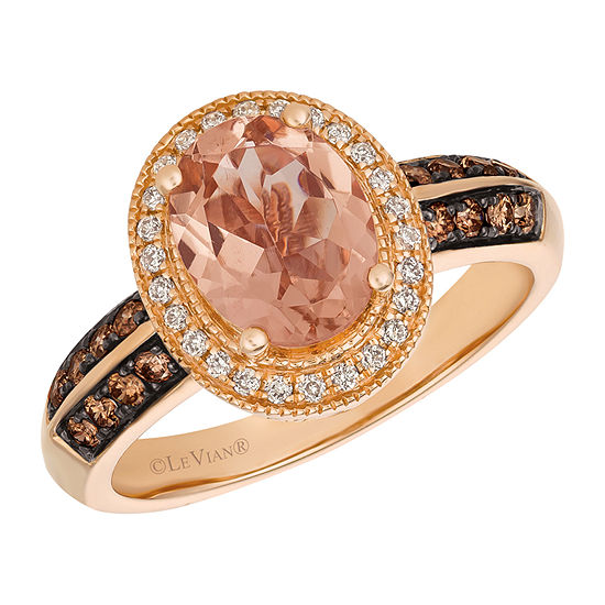 LIMITED QUANTITIES! Le Vian Grand Sample Sale™ Ring featuring Peach Morganite™ Chocolate Diamonds® and Vanilla Diamonds® set in 14K Strawberry Gold®