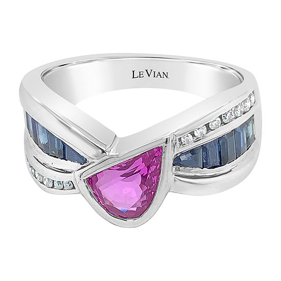 Le Vian Grand Sample Sale™ Ring featuring Bubble Gum Pink Sapphire™ Blueberry Sapphire™ Vanilla Diamonds® set in 18K Two Tone Gold