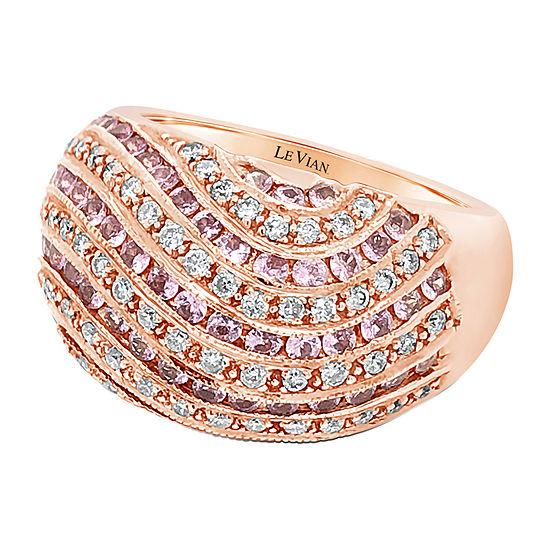 Le Vian Grand Sample Sale™ Ring featuring Bubble Gum Pink Sapphire™ Vanilla Diamonds® set in 14K Strawberry Gold®