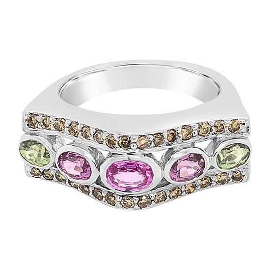 Le Vian Grand Sample Sale™ Ring featuring Purple Sapphire Bubble Gum Pink Sapphire™ Green Sapphire Chocolate Diamonds® set in 14K Vanilla Gold®