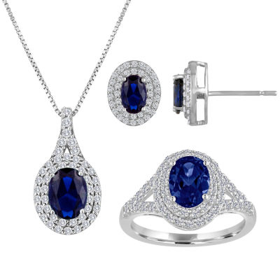 Blue and White Lab-Created Sapphire Sterling Silver Halo Pendant Necklace