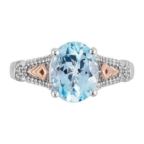 "Enchanted Disney Fine Jewelry ""Frozen 2"" Womens 1/10 CT. T.W. Genuine Blue Topaz 14K Rose Gold Over Silver Sterling Silver Disney Princess Cocktail Ring"