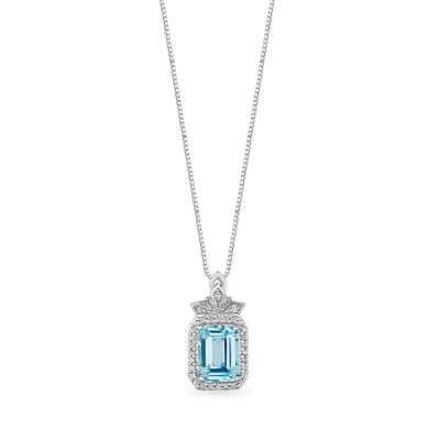 "Enchanted Disney Fine Jewelry ""Frozen 2"" Womens 1/10 CT. T.W. Genuine Blue Topaz Sterling Silver Disney Princess Pendant Necklace"