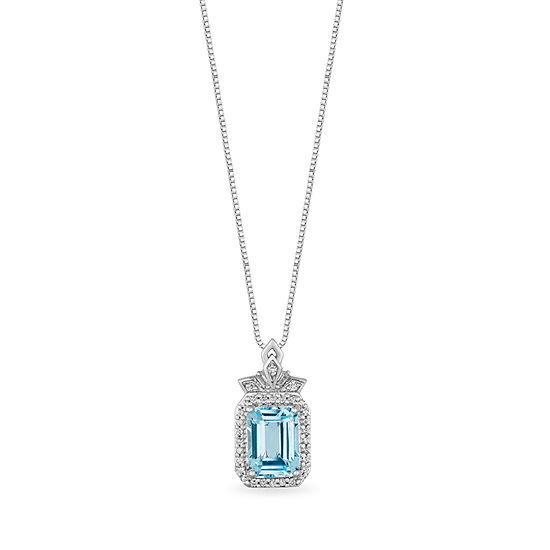 "Enchanted Disney Fine Jewelry ""Frozen 2"" Womens 1/10 CT. T.W. Genuine Blue Topaz Sterling Silver Disney Princess Pendant Necklace"