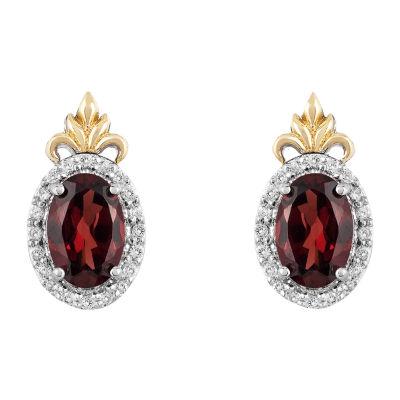 """Enchanted Disney Fine Jewelry """"Frozen 2"""" 1/10 CT. T.W. Genuine Red Garnet 10K Gold Over Silver 11.3mm Anna Stud Earrings"""