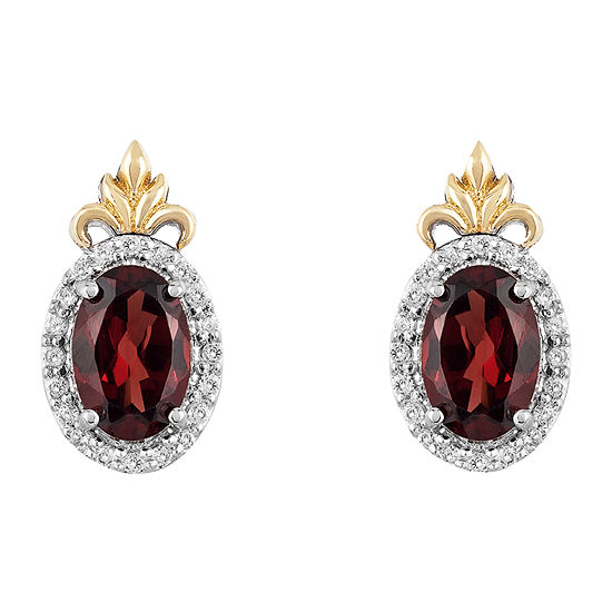 "Enchanted Disney Fine Jewelry ""Frozen 2"" 1/10 CT. T.W. Genuine Red Garnet 10K Gold Over Silver 11.3mm Disney Princess Stud Earrings"