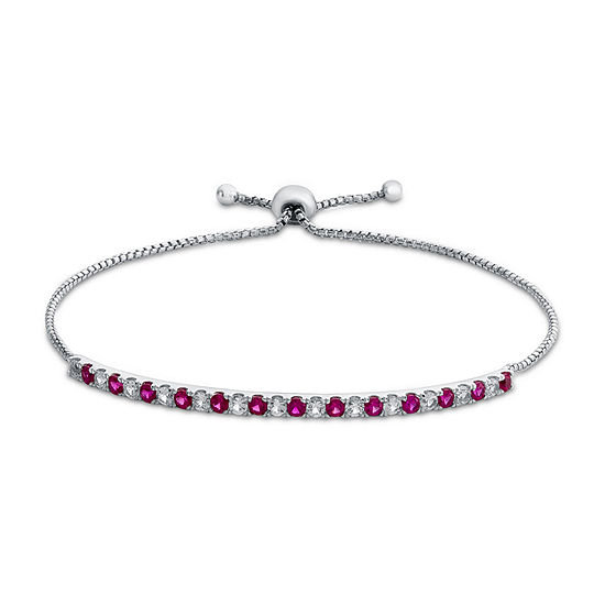 Lab Created Red Ruby Sterling Silver Bolo Bracelet