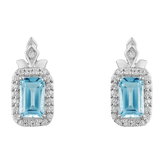 Enchanted Disney Fine Jewelry Frozen 2 1/10 CT. T.W. Genuine Blue Topaz Sterling Silver Disney Princess Drop Earrings