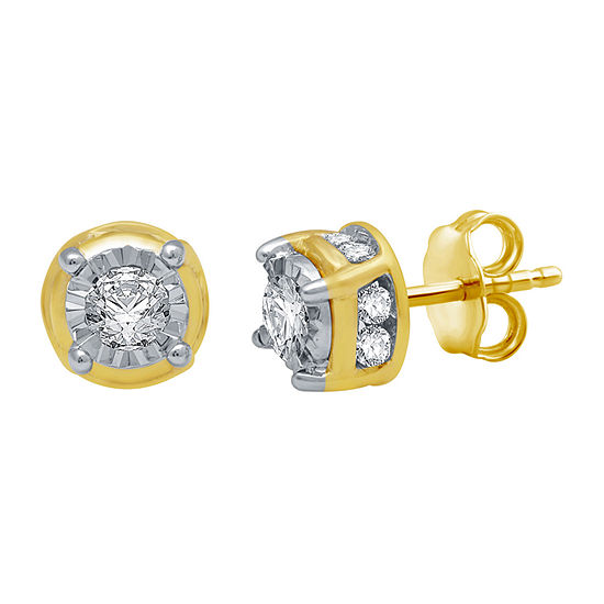 3/4 CT. T.W. Genuine White Diamond 10K Gold Stud Earrings
