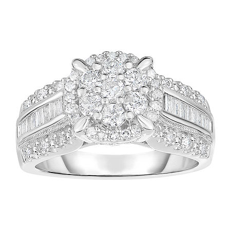 1 CT. T.W. Genuine Diamond 10K White Gold Cluster Ring